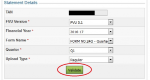 Procedure TDS return filing on ITD website - Validate