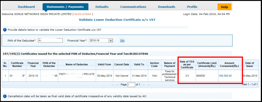 Lower Deduction or No deduction certificate using Saral TDS 7