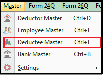 tds on transporter in saral tds - go to deductee master
