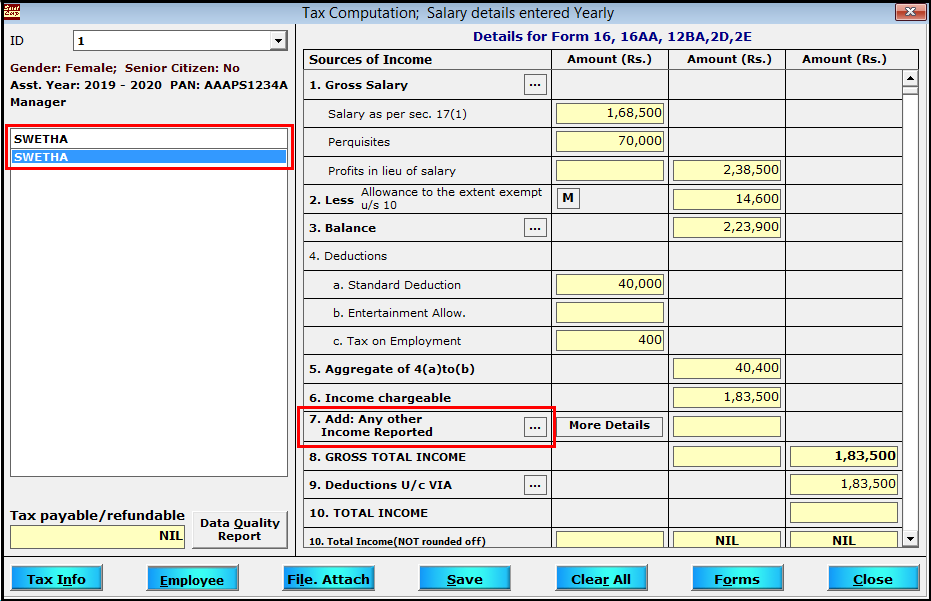 Other Sources of Income entry in Saral TDS - select employee