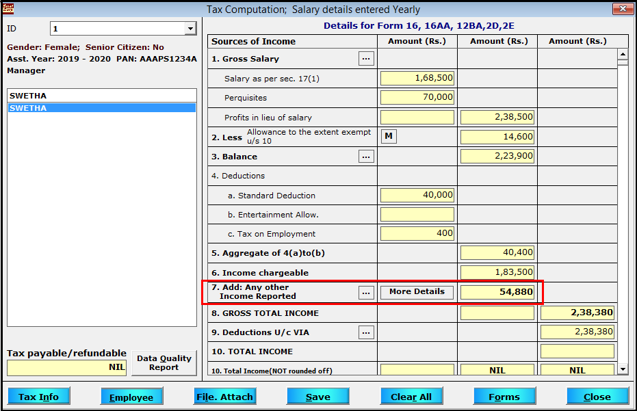 Other Sources of Income entry in Saral TDS - view the total income computed