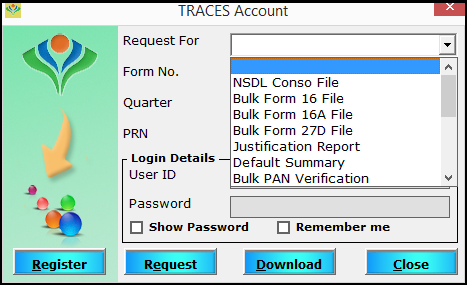 6.TRACES account in SARAL TDS - Options for request/download