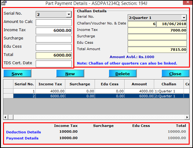 8.Part Payment in Saral TDS-Next challan