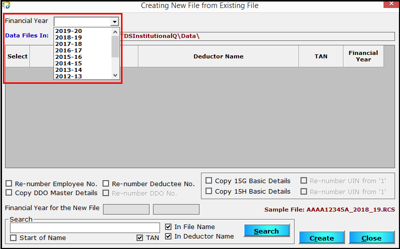 10.Create a new file from an existing file in Saral TDS-FY to display