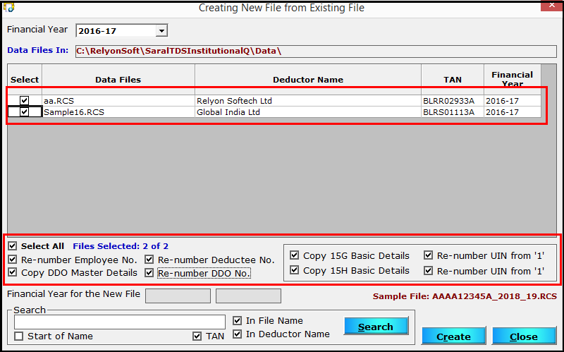 11.Create a new file from an existing file in Saral TDS-Master details copy.