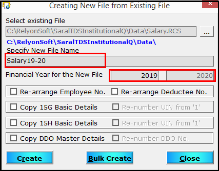 3.Create a new file from an existing file in Saral TDS-Name of new FY file.