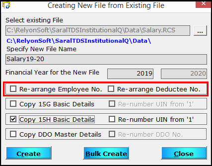 4.Create a new file from an existing file in Saral TDS-Re-arrange employee no.