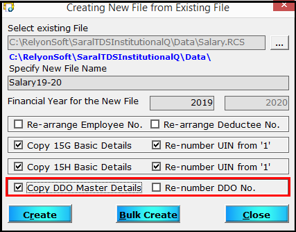 6.Create a new file from an existing file in Saral TDS-DDO No.