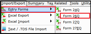 import and export of details in saral tds 1- to import template
