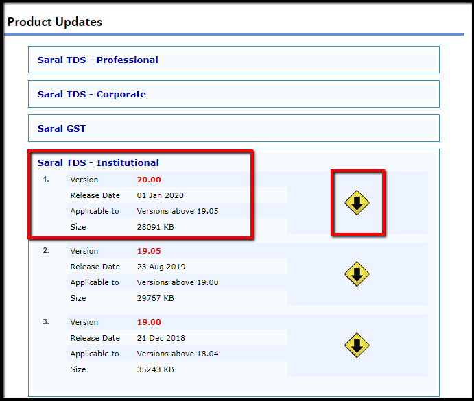 3.1.Procedure for software update in Saral TDS-version 20.00