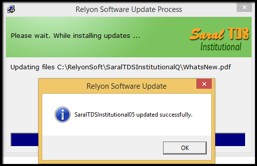 5.Procedure for software update in Saral TDS-success message.