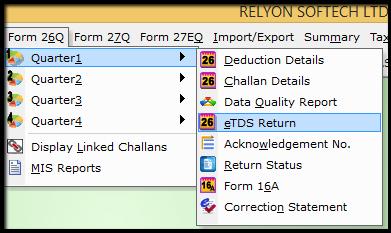 1.1.E-TDS Return Generation in Saral TDS-eTDS return