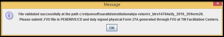 10.1.E-TDS Return Generation in Saral TDS-file validation