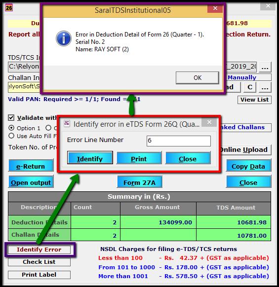 13.E-TDS Return Generation in Saral TDS-Identity error.