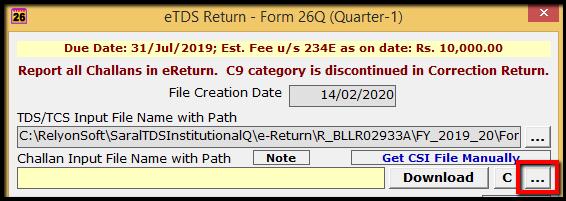 3.1.E-TDS Return Generation in Saral TDS- dot option