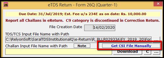 4.1.E-TDS Return Generation in Saral TDS-Get CSI file.