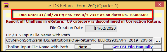 5.E-TDS Return Generation in Saral TDS-due date