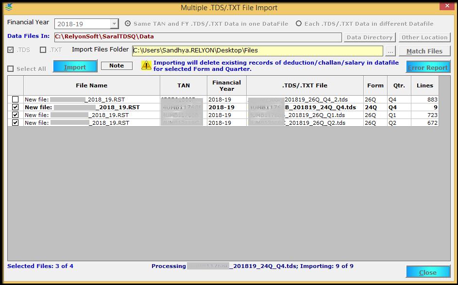 9.TDS file import- complete