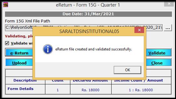 10.Form 15G15H return filing in Saral TDS-validate details