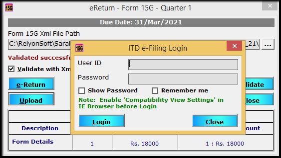 11.Form 15G15H return filing in Saral TDS- upload return to itd