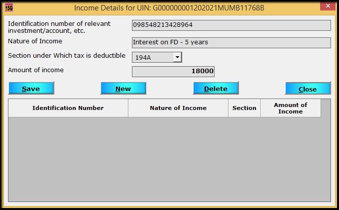 8.Form 15G15H return filing in Saral TDS- enter details