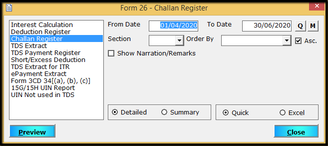 11.MIS reports in Form 26Q part 1-challan register
