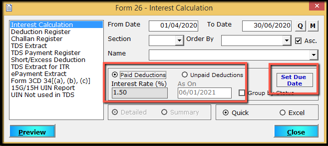 4.MIS reports in Form 26Q part 1-paid deduction